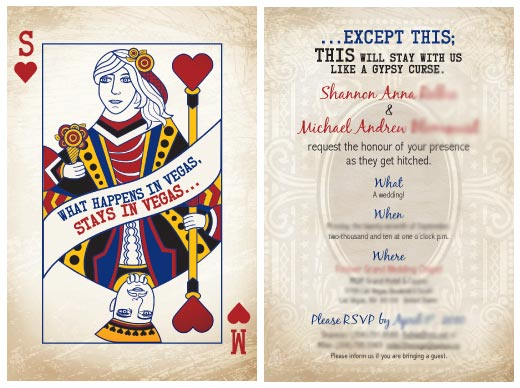 invitatie nunta carte de joc