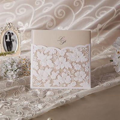 invitatie nunta cu dantela