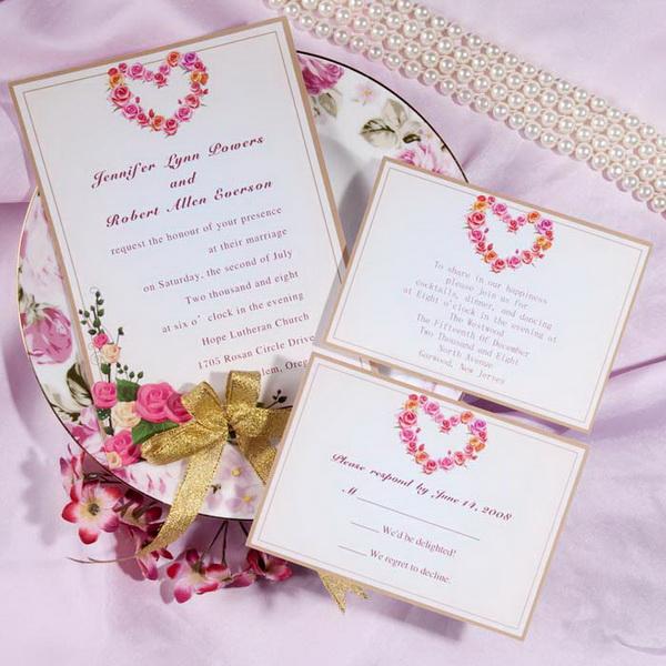 invitatie pentru nunta cu flori si inimi