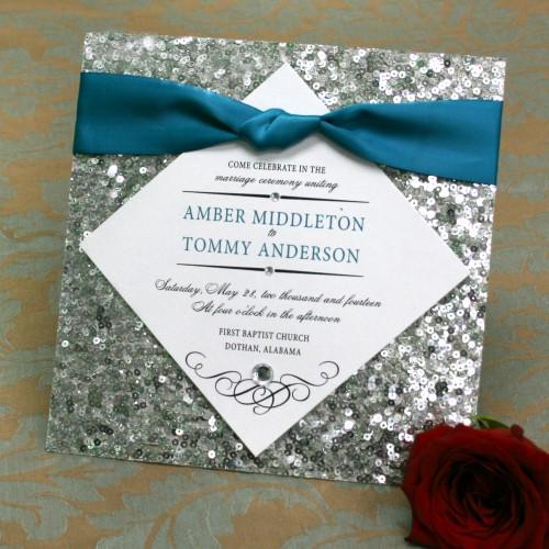 invitatie pentru nunta cu paiete
