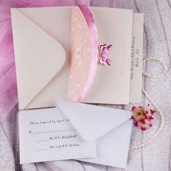 invitatie pentru nunta roz ieftina