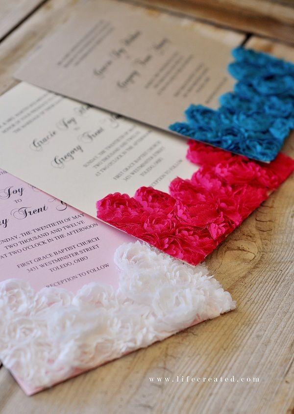 invitatii de nunta cu flori artificiale