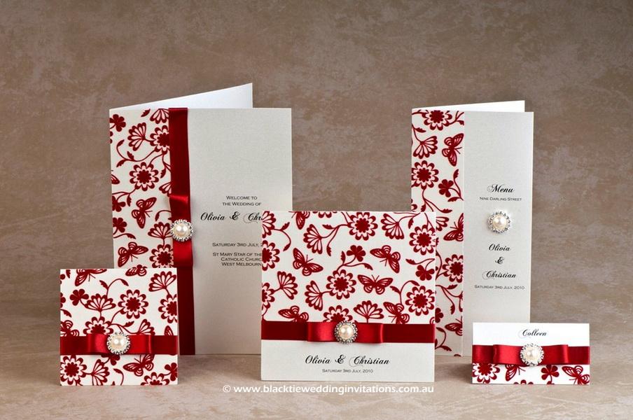 invitatii de nunta rosii cu perle