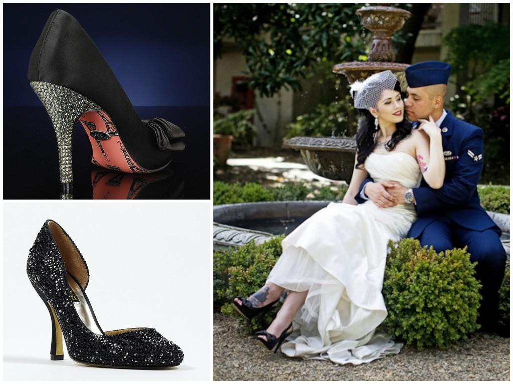 mireasa cu pantofi negri