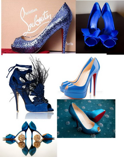modele pantofi mireasa albastri