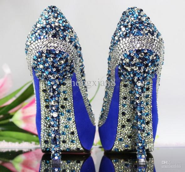 pantofi mireasa albastri cu pietre