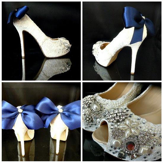 pantofi mireasa cu funda albastra