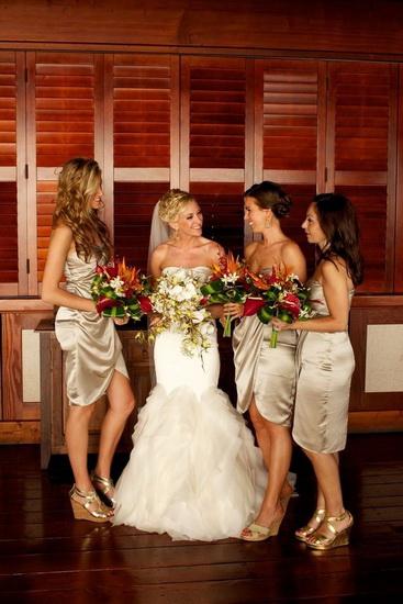 rochii aurii din matase pentru nunta