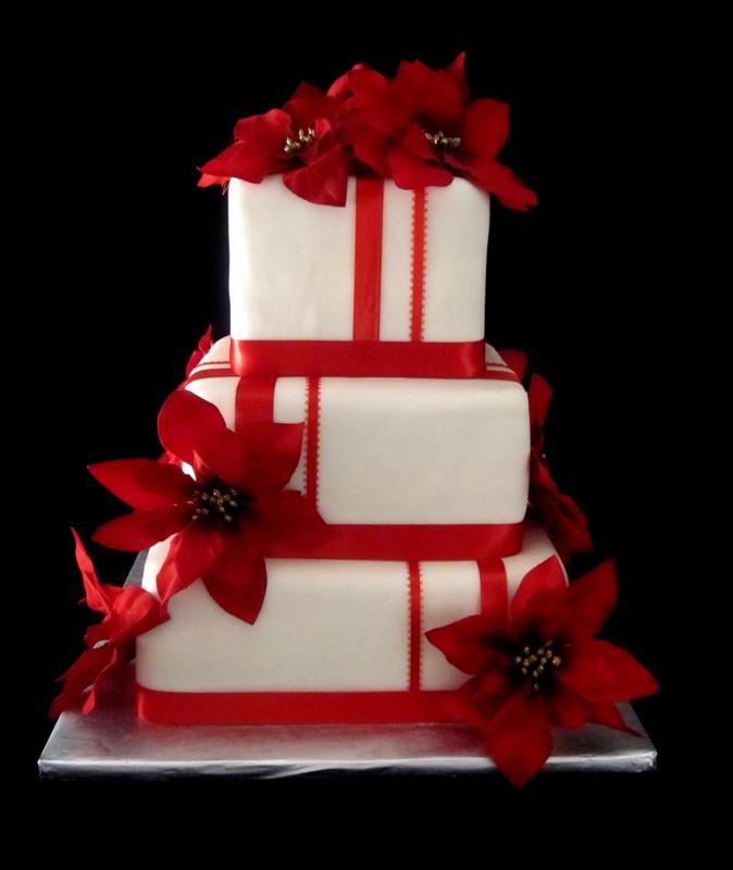 tort de nunta rosu si alb