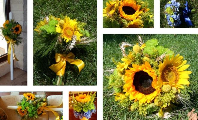 Lumanari de nunta cu floarea soarelui