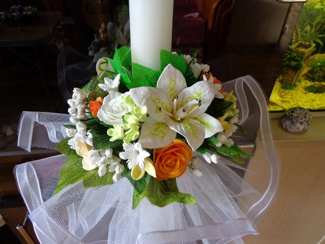 Lumanari de nunta cu flori artificiale