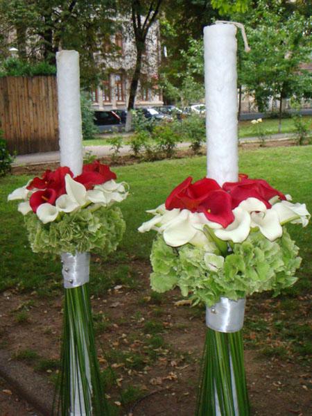 lumanari cale rosii si albe
