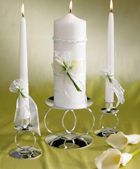 lumanari nunta ornate cu cale albe