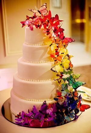 tort cu fluturi colorati