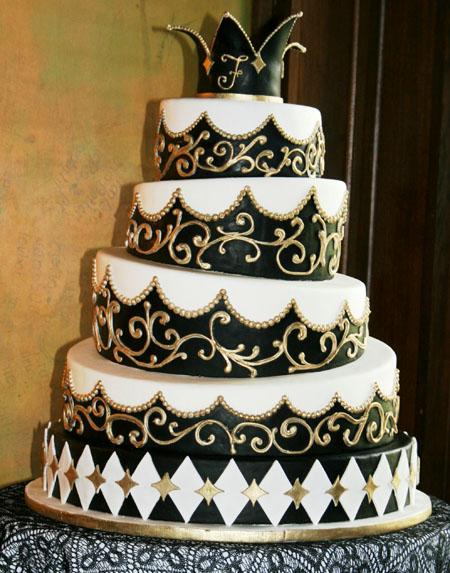 tort nunta alb cu negru