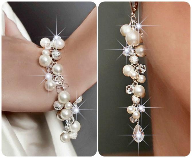 cercei cu perle si cristale handmade