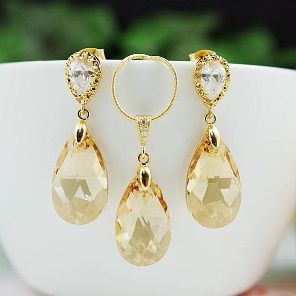 cercei din aur si Cristale Swarovski