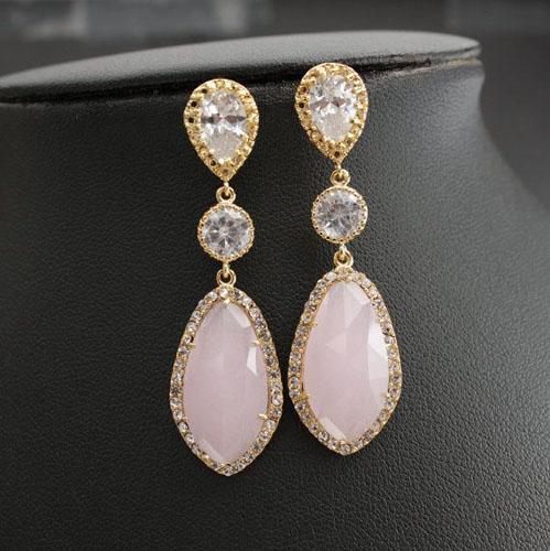 cercei din aur si diamant roz