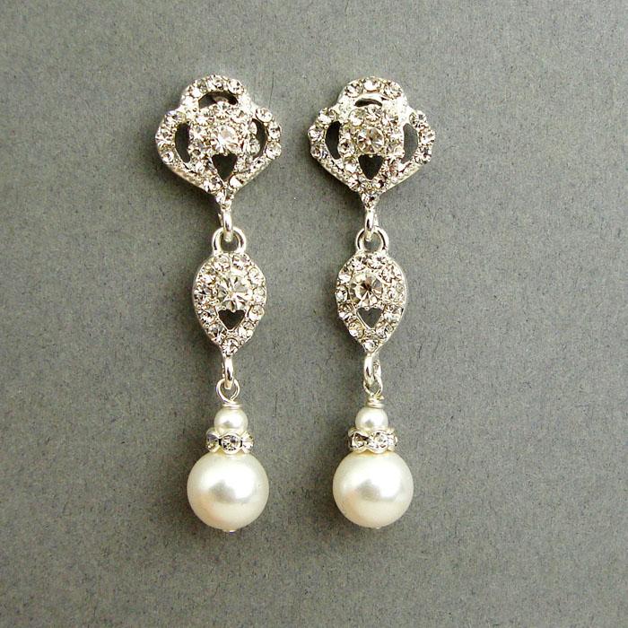 cercei mireasa cu Cristale Swarovski si perle