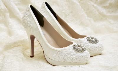 pantofi de mireasa cu dantela