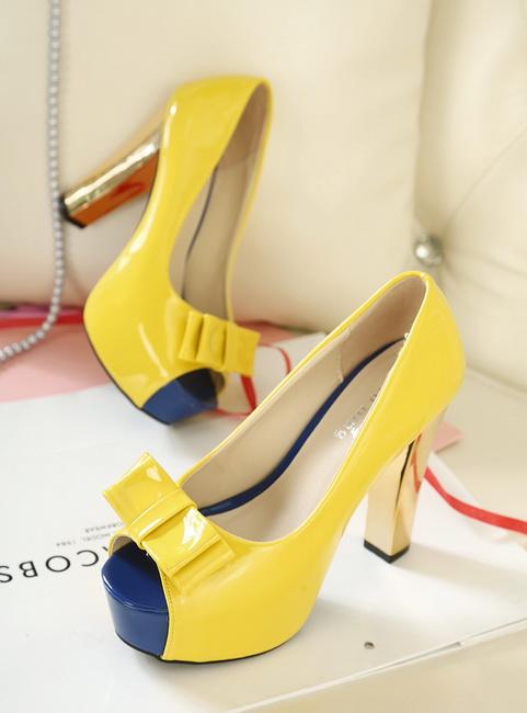 pantofi galbeni inalti