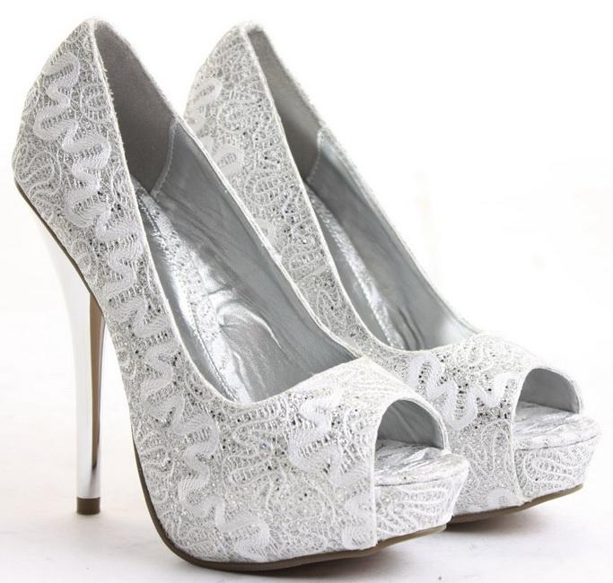 pantofi mireasa dantela cu toc inalt