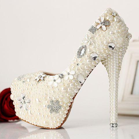 pantofi platforma mireasa cu perle