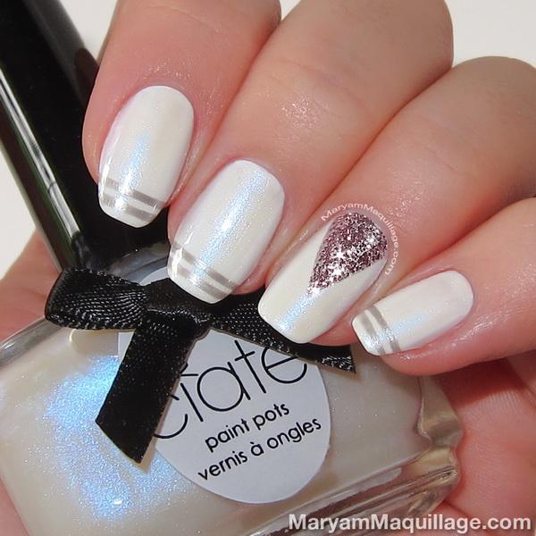 unghii de nunta albe