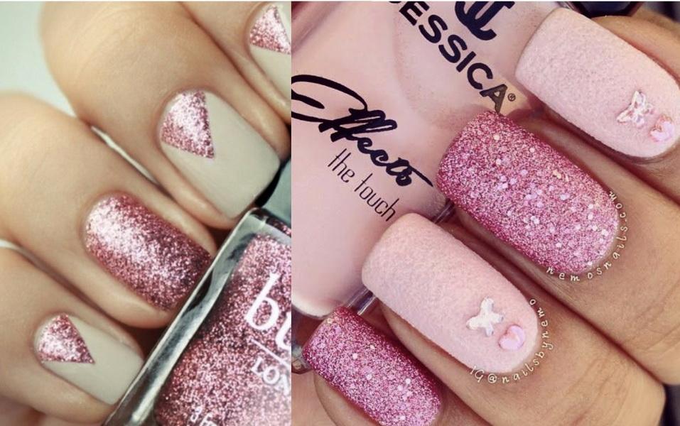 unghii roz cu sclipici 2015
