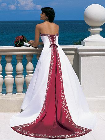rochie mireasa alb cu rosu