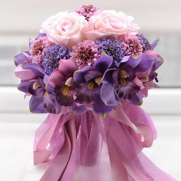 buchet mireasa cu flori roz si mov