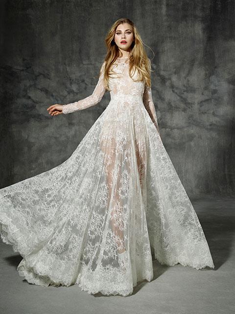 rochie mireasa transparenta lunga