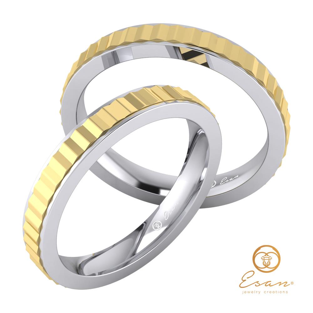Verighete cu motive geometrice aur galben + aur alb