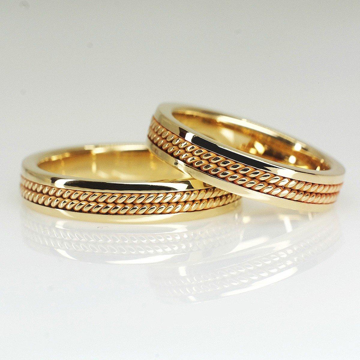 Verighete din aur galben cu dubla impretitura