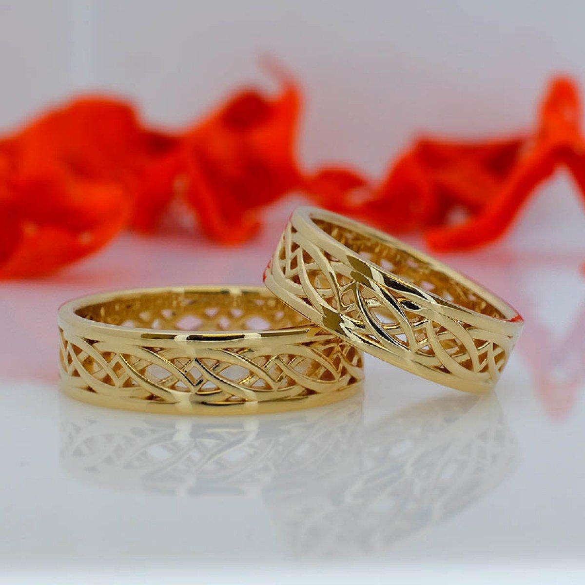 Verighete din aur galben cu model celtic