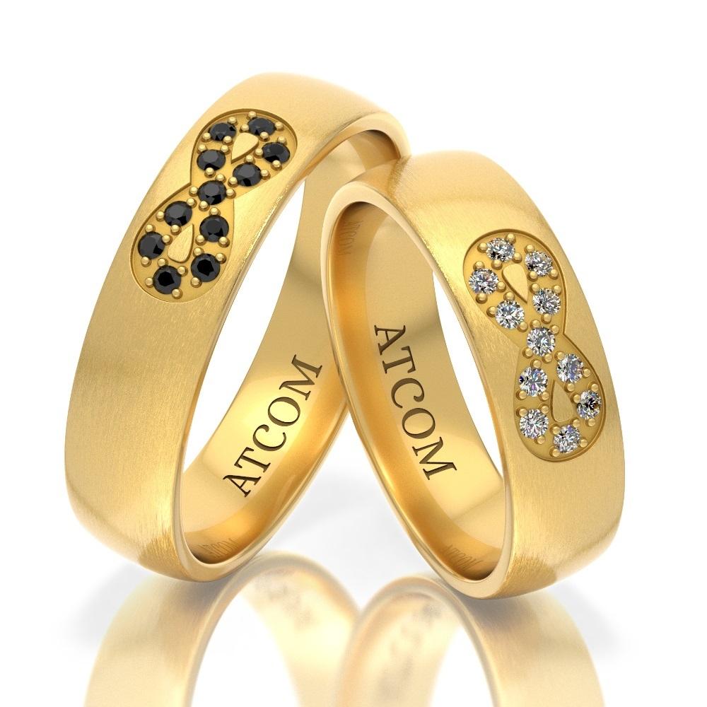 Verighete din aur galben cu modelul infinitului