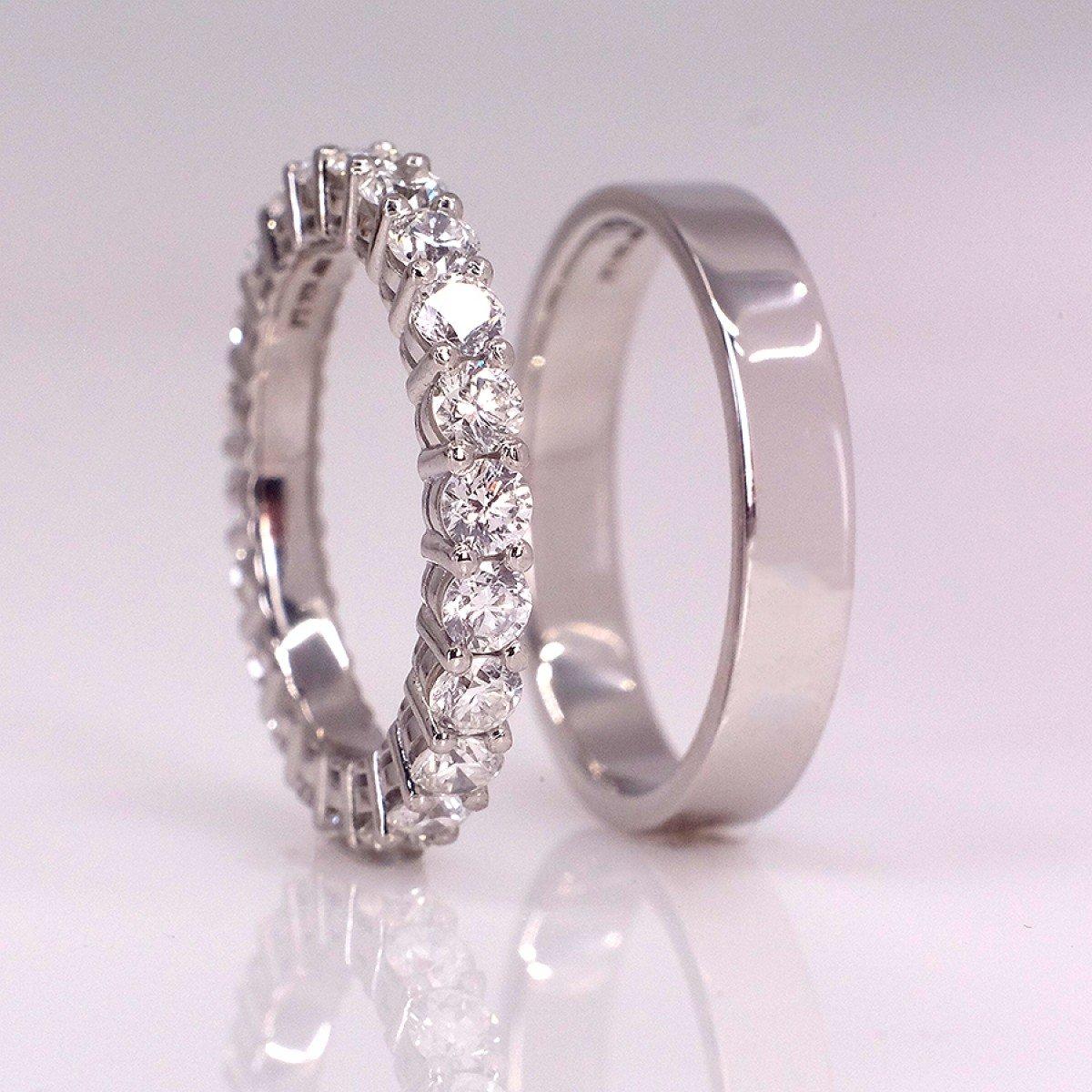 Verighete din platina si diamante